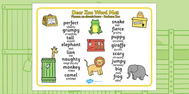 Dear Zoo Word Mat Polish Translation - polish, dear zoo, word mat, keywords, key word mat