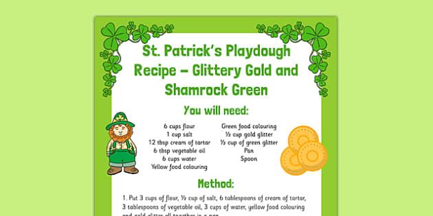 St. Patrick's Playdough Recipe Glittery Gold and Shamrock Green - St Patricks Day, playdough