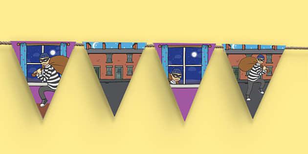 Burglar Display Bunting - burglar bill, burglar, display bunting, display, bunting