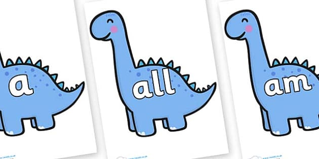 Foundation Stage 2 Keywords on Diplodocus Dinosaurs - FS2, CLL, keywords, Communication language and literacy,  Display, Key words, high frequency words, foundation stage literacy, DfES Letters and Sounds, Letters and Sounds, spelling