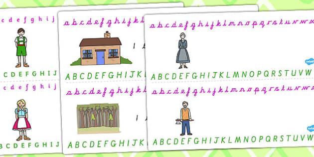 Hansel and Gretel Alphabet Strips - alphabet, strips, hansel