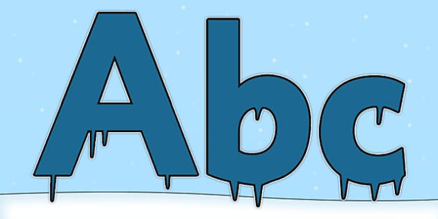 Dark Blue Icicle Ice Themed Display Lettering - dark blue icicle, ice, display lettering, display, lettering