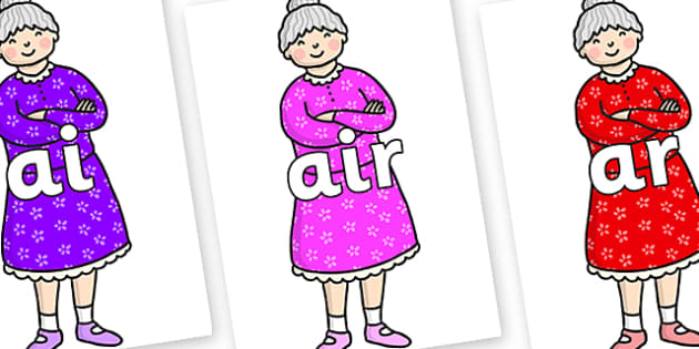 Phase 3 Phonemes on Enormous Turnip Old Woman - Phonemes, phoneme, Phase 3, Phase three, Foundation, Literacy, Letters and Sounds, DfES, display