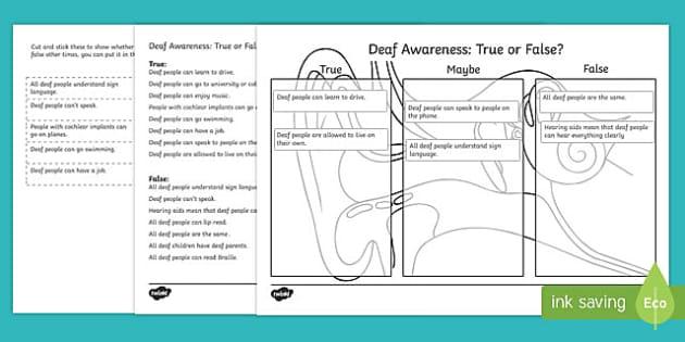 Deaf Awareness   True or False Cut and Stick Activity