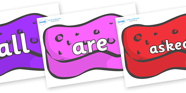 Tricky Words on Sponges - Tricky words, DfES Letters and Sounds, Letters and sounds, display, words