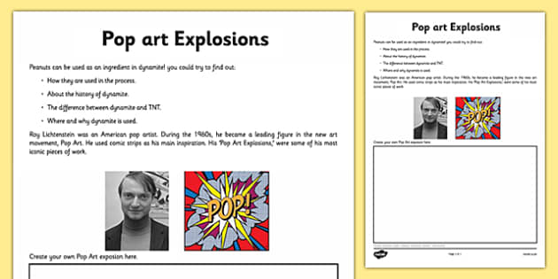 Pop Art Explosions Activity Sheet - pop art, roy lichenstien, worksheet