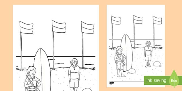 Surf Life Saver Colouring Page-Australia