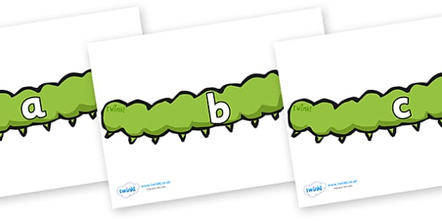 Phase 2 Phonemes on Caterpillars - Phonemes, phoneme, Phase 2, Phase two, Foundation, Literacy, Letters and Sounds, DfES, display