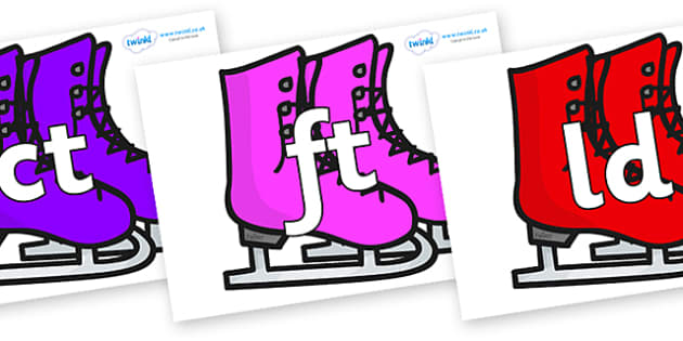 Final Letter Blends on Ice Skates - Final Letters, final letter, letter blend, letter blends, consonant, consonants, digraph, trigraph, literacy, alphabet, letters, foundation stage literacy