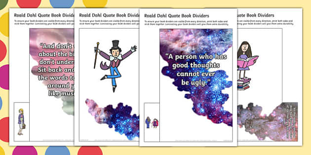 Roald Dahl Book Dividers Display Cut Outs