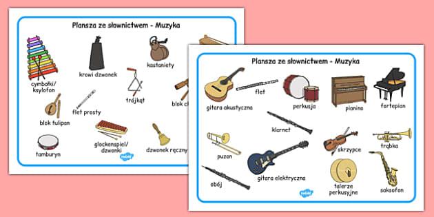 Plansza ze słownictwem Muzyka po polsku - śpiew, intrumenty