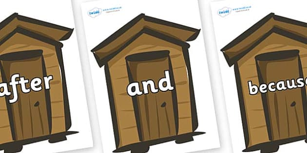 Connectives on Sheds - Connectives, VCOP, connective resources, connectives display words, connective displays