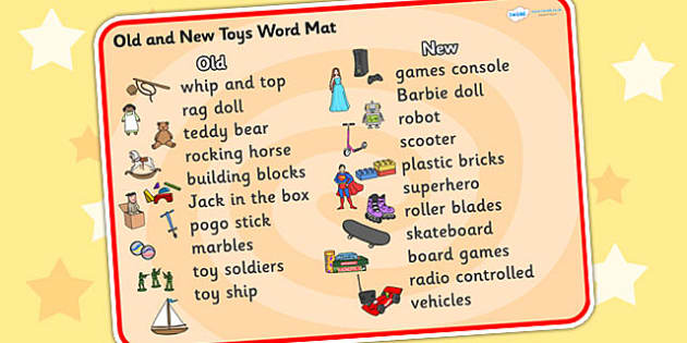 Old and New Toys Word Mat - Toys, word mat, writing aid, robot, doll, skateboard, games console, dice, jigsaw, games, dominos, marbles, pogo, Jack in the box, diabolo, jacks, pop gun, skittles, spinning top