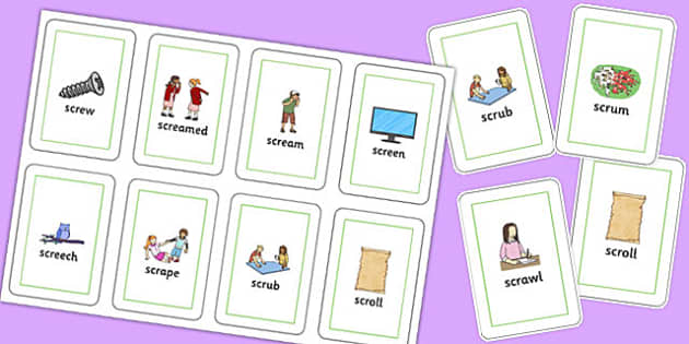 SCR Flash Cards - speech sounds, phonology, articulation, speech therapy, cluster reduction, complex clusters, three element clusters