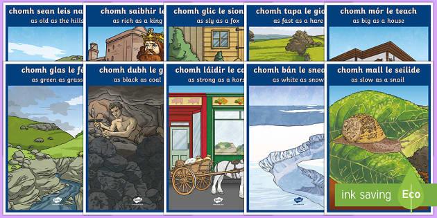 Irish Similes with Translations Display Posters Gaeilge
