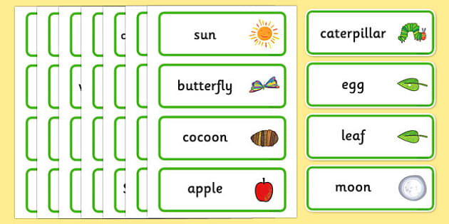 Word Cards to Support Teaching on The Very Hungry Caterpillar - The Very Hungry Caterpillar,  Eric Carle, resources, Hungry Caterpillar, life cycle of a butterfly, days of the week, food, fruit, story, story book, story book resources, story sequenci