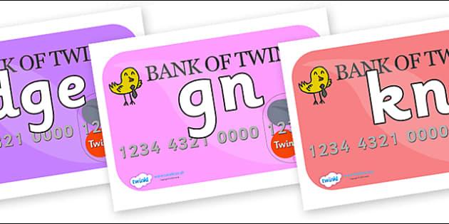 Silent Letters on Debit Cards - Silent Letters, silent letter, letter blend, consonant, consonants, digraph, trigraph, A-Z letters, literacy, alphabet, letters, alternative sounds
