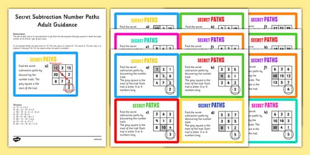 Secret Subtraction Number Paths Challenge Cards - secret, subtractions, number, paths, challenge cards
