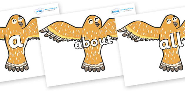 100 High Frequency Words on Owls - High frequency words, hfw, DfES Letters and Sounds, Letters and Sounds, display words
