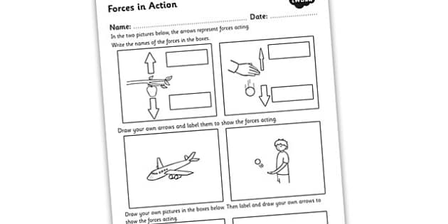Forces in Action Worksheet - forces, forces and motion, forces worksheet, how forces work, forces labelling worksheet, forces and motion worksheet, ks2