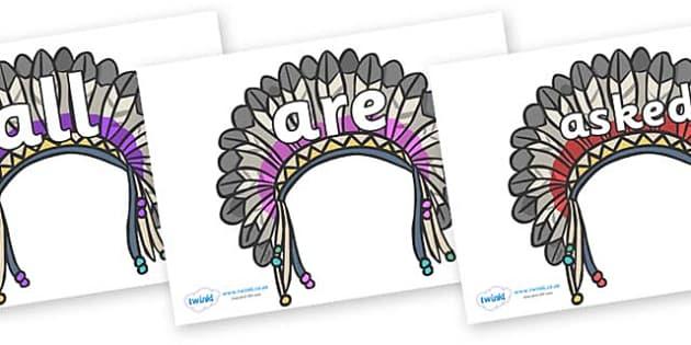 Tricky Words on Headdresses - Tricky words, DfES Letters and Sounds, Letters and sounds, display, words