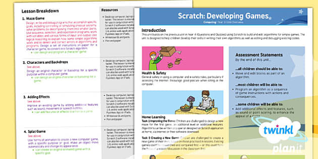 PlanIt - Computing Year 5 - Scratch Developing Games Planning Overview