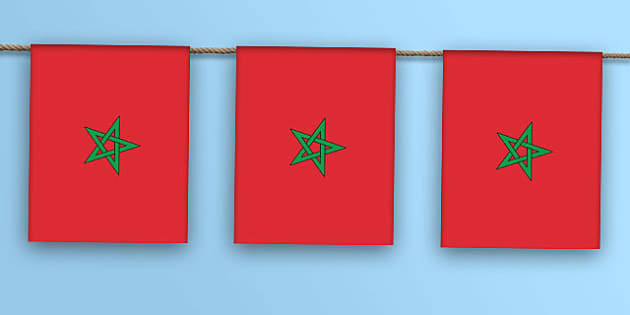Moroccan Flag Bunting - moroccan flag, bunting, display bunting, display, morocco