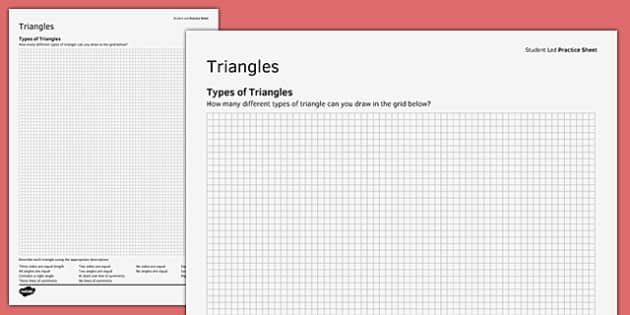 KS3_KS4 Maths Student Led Practice Sheets Types of Triangles - maths, KS3, KS4, GCSE, worksheet, practise, independent, growth mindset, triangles, properties, right angled, isosceles, equilateral, scalene