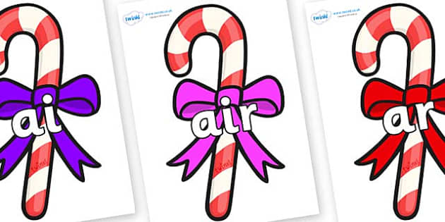 Phase 3 Phonemes on Candy Canes (Bows) - Phonemes, phoneme, Phase 3, Phase three, Foundation, Literacy, Letters and Sounds, DfES, display