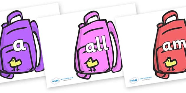 Foundation Stage 2 Keywords on Backpacks - FS2, CLL, keywords, Communication language and literacy,  Display, Key words, high frequency words, foundation stage literacy, DfES Letters and Sounds, Letters and Sounds, spelling