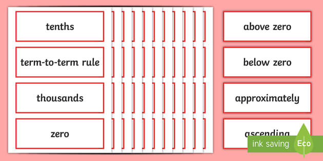 Year 5 2014 Curriculum Number and Place Value Vocabulary Cards