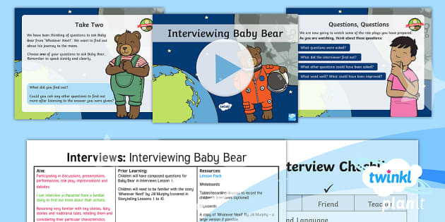 PlanIt Y1 Space: To Support Teaching on Whatever Next! Lesson Pack Interviews (2)  - Planit English, Space, Whatever Next, Jill Murphy, Interviews, Questioning Skills, Year 1, KS1, Engl