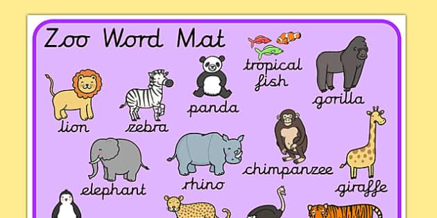 Zoo Word Mat Cursive - zoo word mat, zoo words, zoo topic words, zoo key words, animal key words, animal topic words, zoo word list