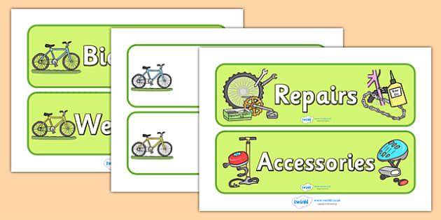 Bicycle Repair Shop Display Signs - Bike repair, bicycle, bikes, sign, signs, banner, transport, role play, wheels, tyres, bikes, bike role play, fix, repair