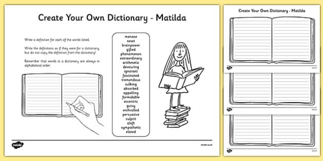 Matilda Key Vocabulary Create Your Own Dictionary