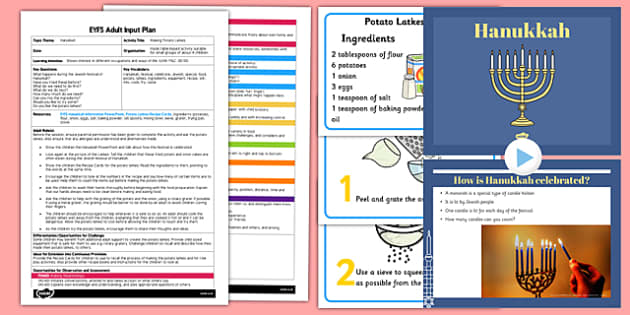 Making Potato Latkes EYFS Adult Input Plan and Resource Pack - adult led, latkes