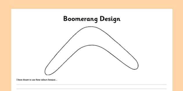 Boomerang Design Activity Sheet - australia, boomerang, template, outline, design, colouring, worksheet, art, technology