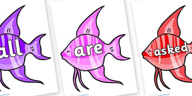 Tricky Words on Angelfish - Tricky words, DfES Letters and Sounds, Letters and sounds, display, words