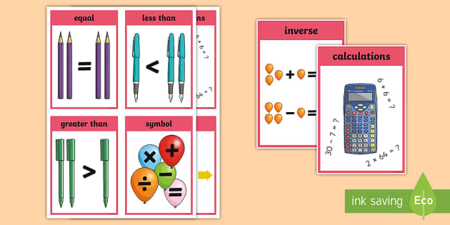 Numeracy and Mathematics Expressions and Equations Keyword Flashcards - language of maths, vocabulary, word wall, inverse, vocab