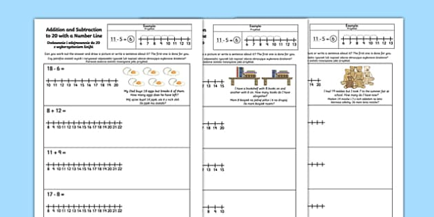 * NEW * Addition and Subtraction to 20 with a Number Line Activity Sheet English/Polish