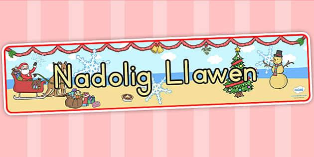 Baner 'Nadolig Llawen' - christmas, banner, welsh, xmas