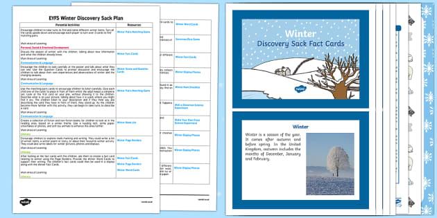 EYFS Winter Discovery Sack - EYFS, winter, seasons, lesson ideas