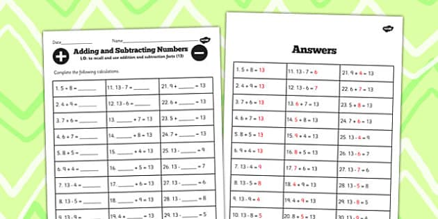 Number Facts to 13 Worksheet - number, facts, 13, worksheet, math