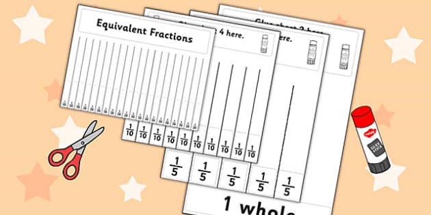 Equivalent Fractions Visual Aid Fifths - maths, fraction, aids