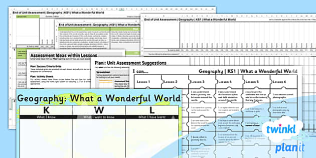 PlanIt - Geography KS1 - What a Wonderful World Unit Assessment Pack - planit, geography, ks1, what a wonderful world, unit, assessment, pack