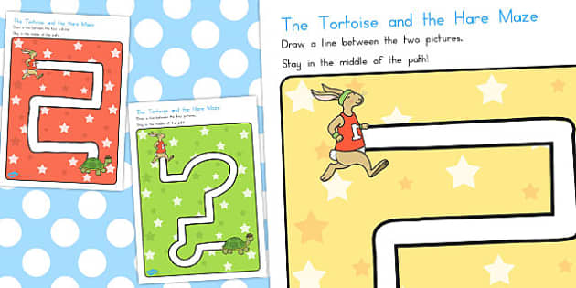 The Tortoise and the Hare Pencil Control Path Worksheets - paths