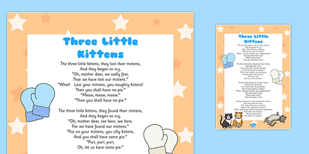 The Three Little Kittens Poem - the three little kittens, poem, kittens, mittens, cat