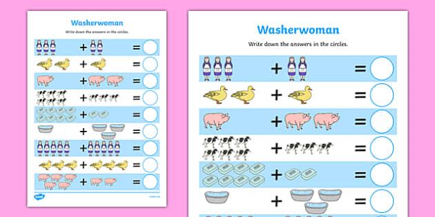 Washerwoman Up to 10 Addition Sheet - mrs wishy washy, washerwoman, addition sheet, 10