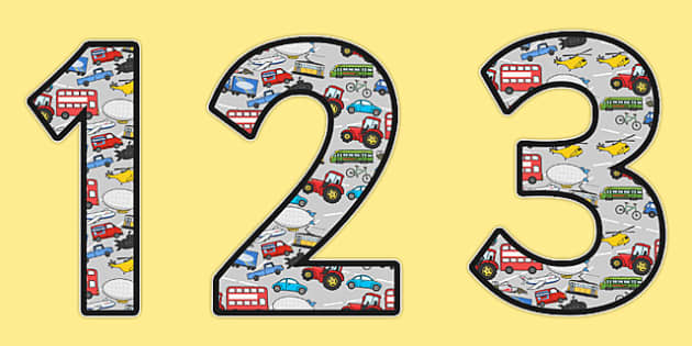 Transport Themed Display Numbers - transport, display, numbers