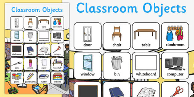 Classroom Objects Vocabulary Poster - classroom objects, vocabulary, poster, display